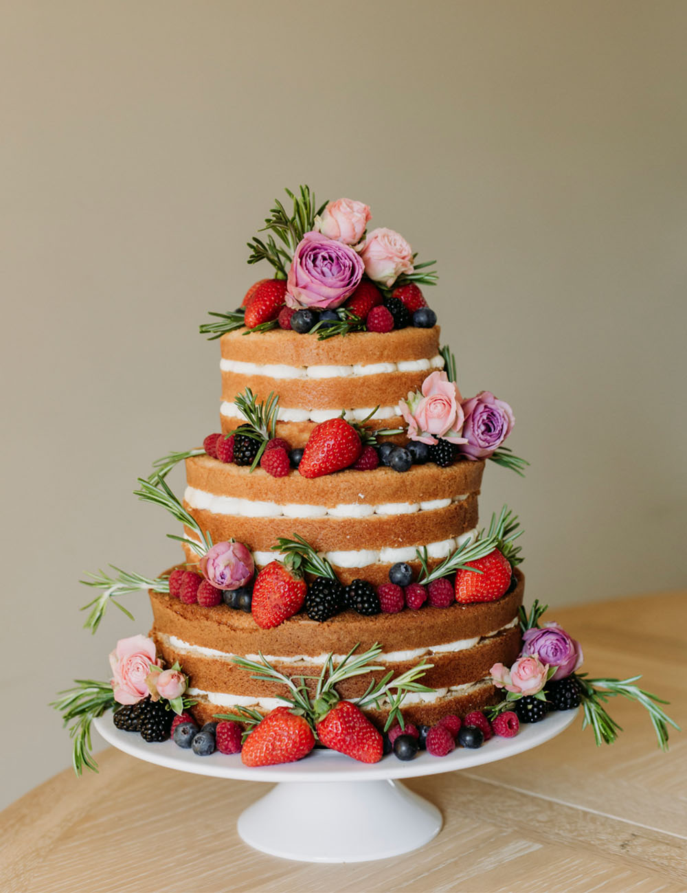 Naked Pink Roses and Summer Berry Cake