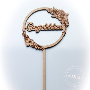 Congratulations Wooden Cake Topper Close