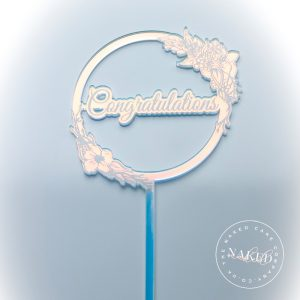 Congratulations Iridescent Cake Topper Close