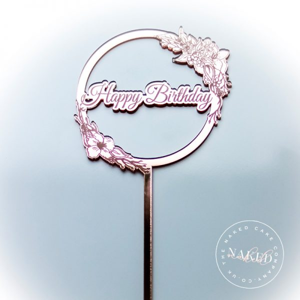 Birthday Rose Gold Mirror Cake Topper Close